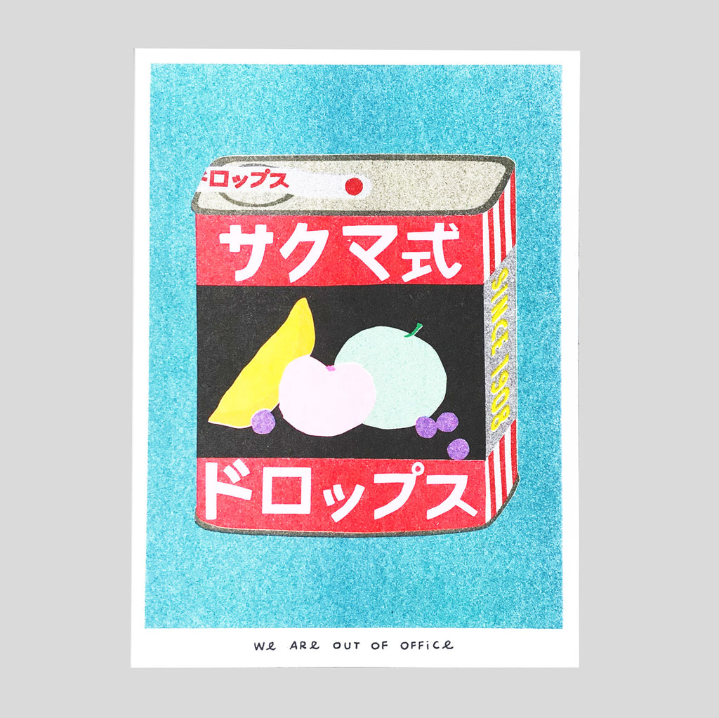 A Tin Can of Sakuma Drops Riso Print - We Are Out Of Office - Colours May Vary