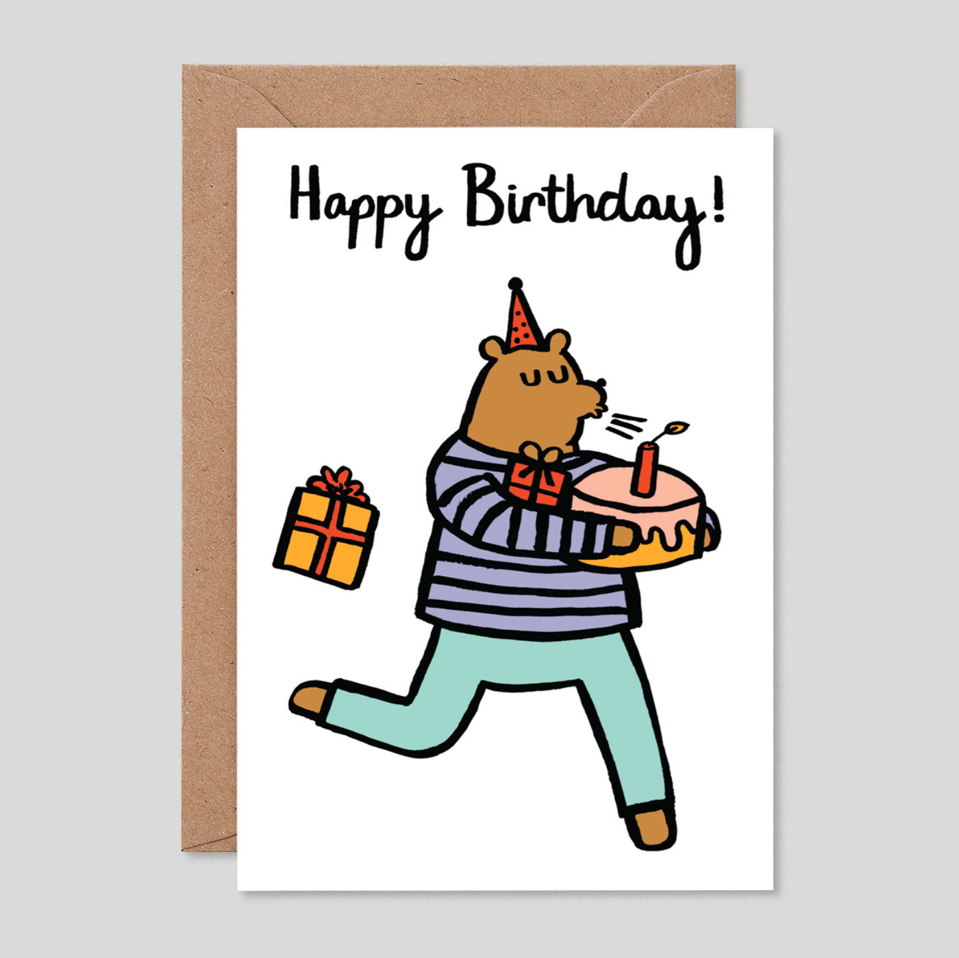 Alice Bowsher For Wrap | 'Happy Birthday Bear' Card | Colours May Vary