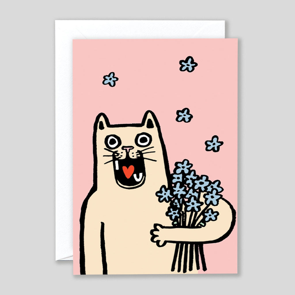 Alice Bowsher For Wrap | I Love You Cat Card | Colours May Vary