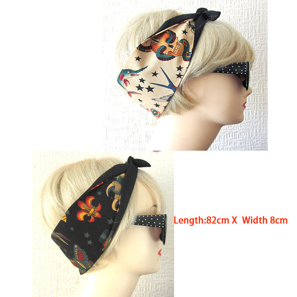 1950s women vintage rockabilly pinup polka dot mexico skull headband hairband hair scarf bands accessories bandana bandeau