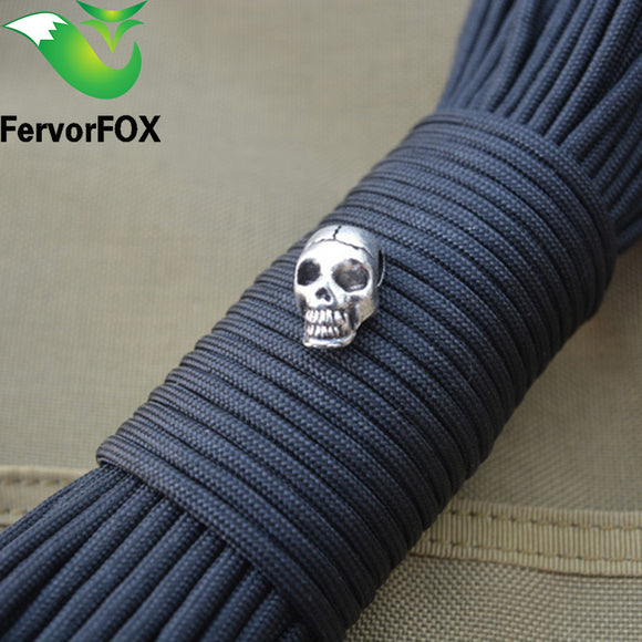 1Pcs Keychain Ring Buckle DIY String outdoor paracord accessories Pendant Metal Skull beads Pirate Camping
