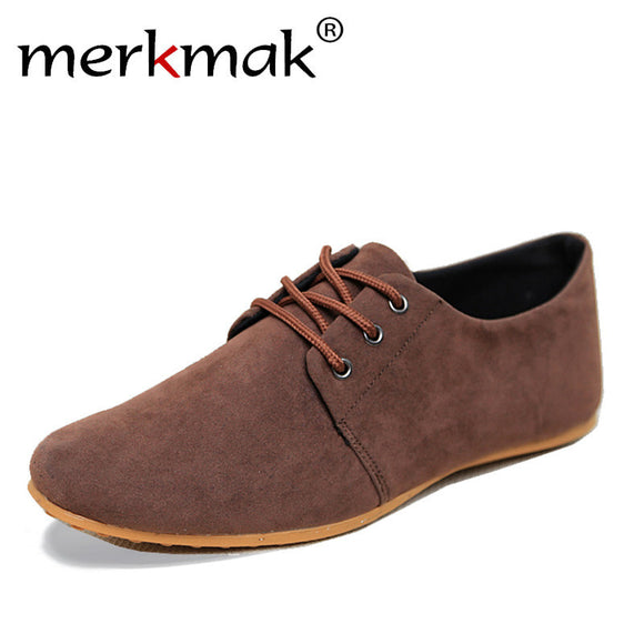 Merkmak 2017 New Men Shoes Casual Suede Leather Flat Shoes Male Mens Canvas Driving Shoes Men's Flats Shoes for Man