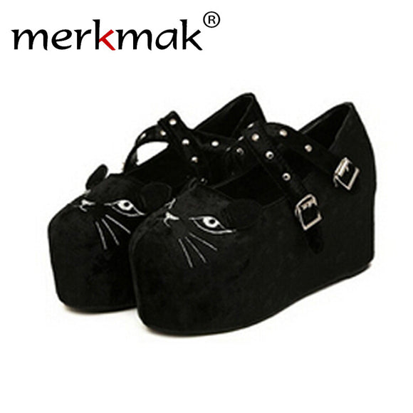 Merkmak 2016 Cute Platform Shoes Wedge Flatform Punk Creeper Thick Shoes High Heels Leopard Skull Black Women Shoes Plus Size