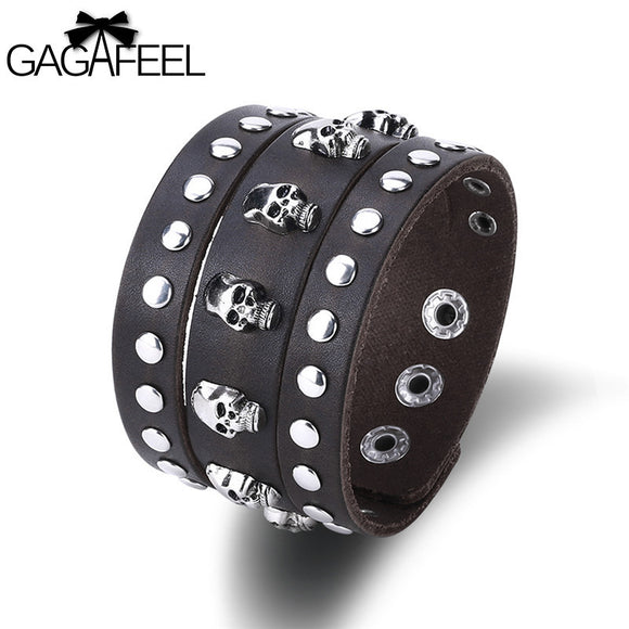 GAGAFEEL Punk Wrap Bracelet Leather Wide Cuff Braid Skull Bracelets & Bangles For Men Fashion Vintage Jewelry Accessory 2017