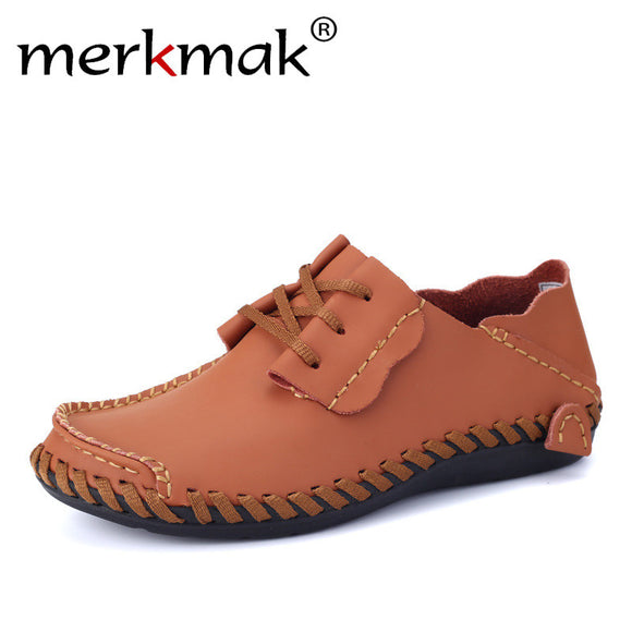 Merkmak Men Leather Shoes Casual 2017 Autumn Fashion Shoes For Men Designer Shoes Casual Breathable Big Size Mens Shoes Comfort