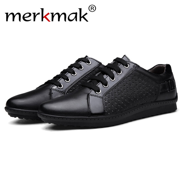Merkmak New 2017 Luxury Brand Men Shoes Trend Casual Leisure Shoes Leather Shoes Breathable For Male Foowear Loafers Men's Flats