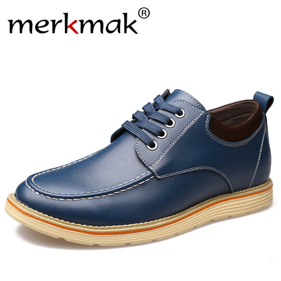 Merkmak New Fashion Genuine Leather Men Shoes Luxury Casual Shoes Mens Invisible Height Increase Shoes Flat Tooling Shoes Male