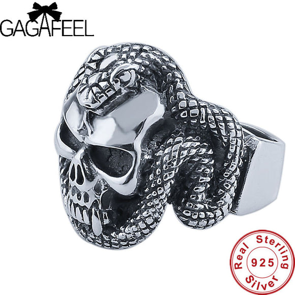 GAGAFEEL Snake Skull 925 Sterling Silver  Punk Skull style Men's ring Thai Silver Fine Jewelry free shipping big sizes LHYR33