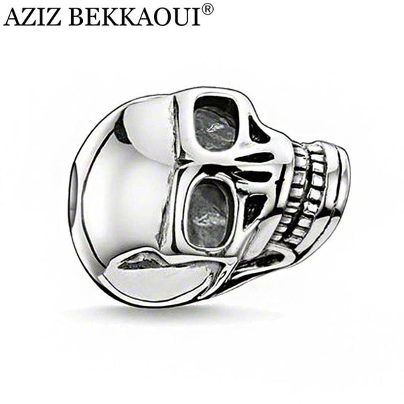 AZIZ BEKKAOUI Silver Plated Skull Beads Fashion Skull Head Shape Charms DIY Beads Fit For Pandora Necklaces & bracelets