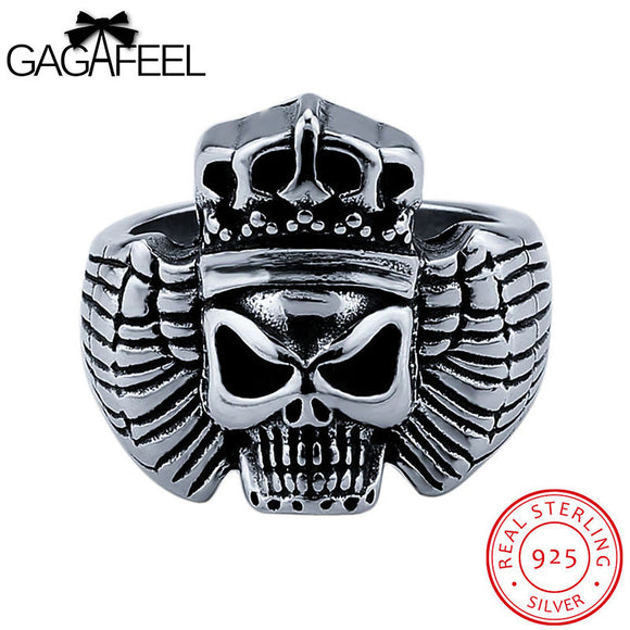 GAGAFEEL Skull Rings Sterling-Silver-Jewelry Punk Men Ring Skeleton Finger Accessories Hiphop For Evening Party Father's Day