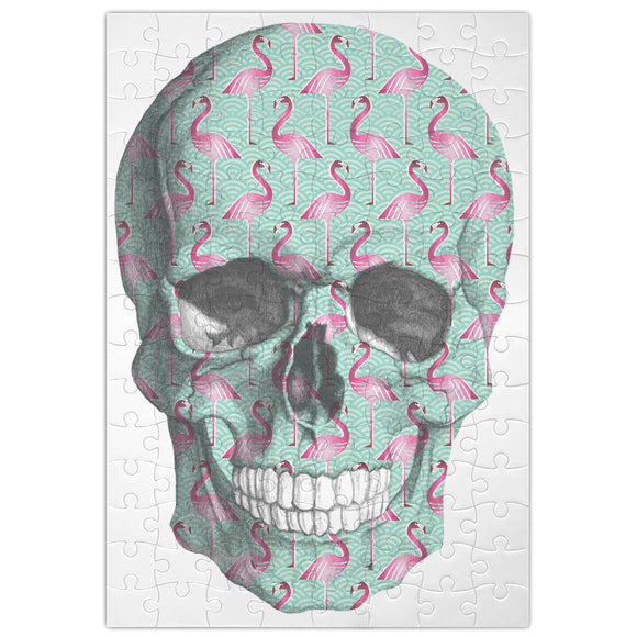 Flamingo Pattern Skull  Jigsaw Puzzle Maze| Unique And Custom Learning Games For Kids & Adults| Learning Made Fun With Custom Design & Printed Jigsaw Puzzles