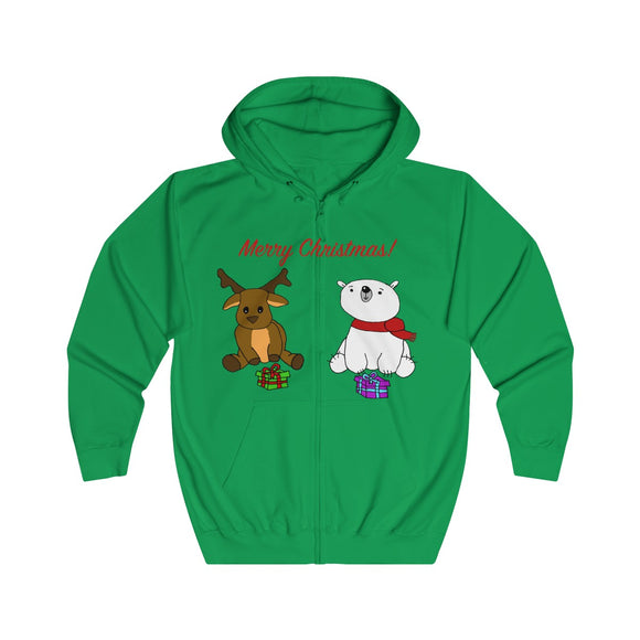 Have A Beary Deer Christmas Adults Unisex Full Zip Hoodie!