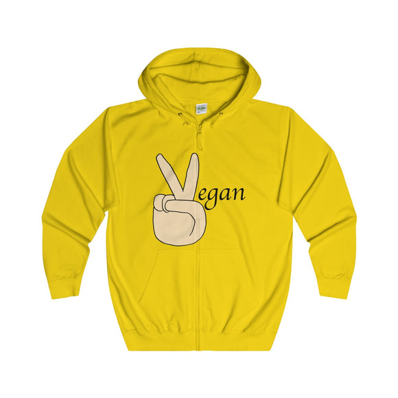 Vegan Adults Unisex Full Zip Hoodie