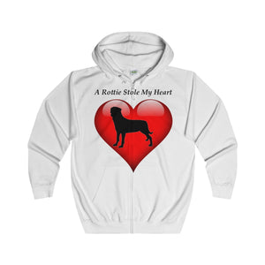 Rottie Stole My Heart Adult Unisex Full Zip Hoodie