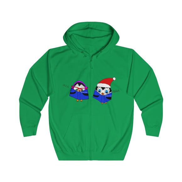 Penguin Christmas Carol Singers Adults Unisex Full Zip Hoodie!