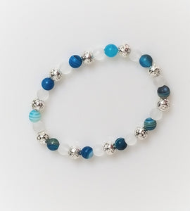 blue agate beads with white stone and silver lava beads