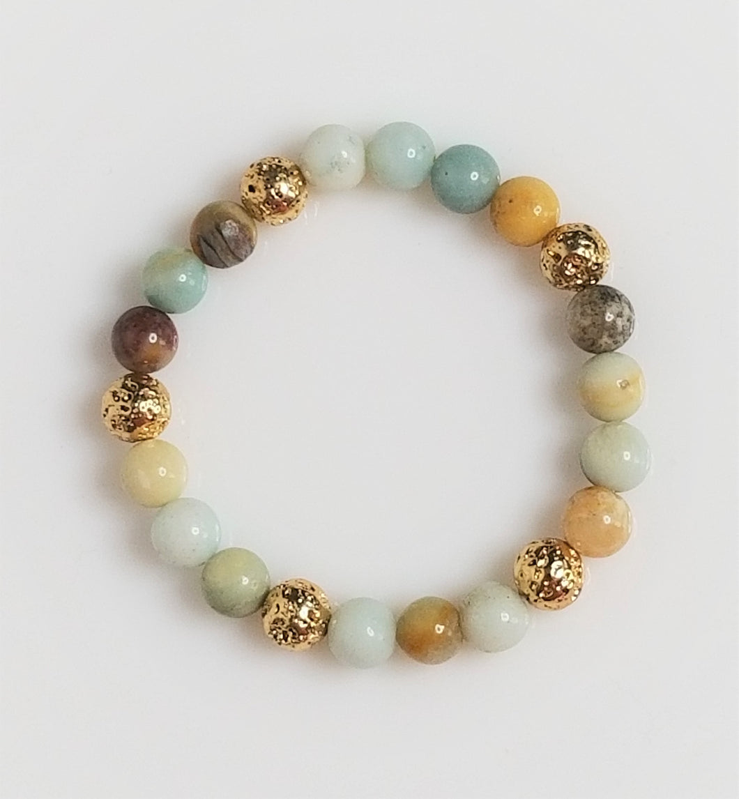 Amazonite stone beads with gold metal plated lava bead bracelet