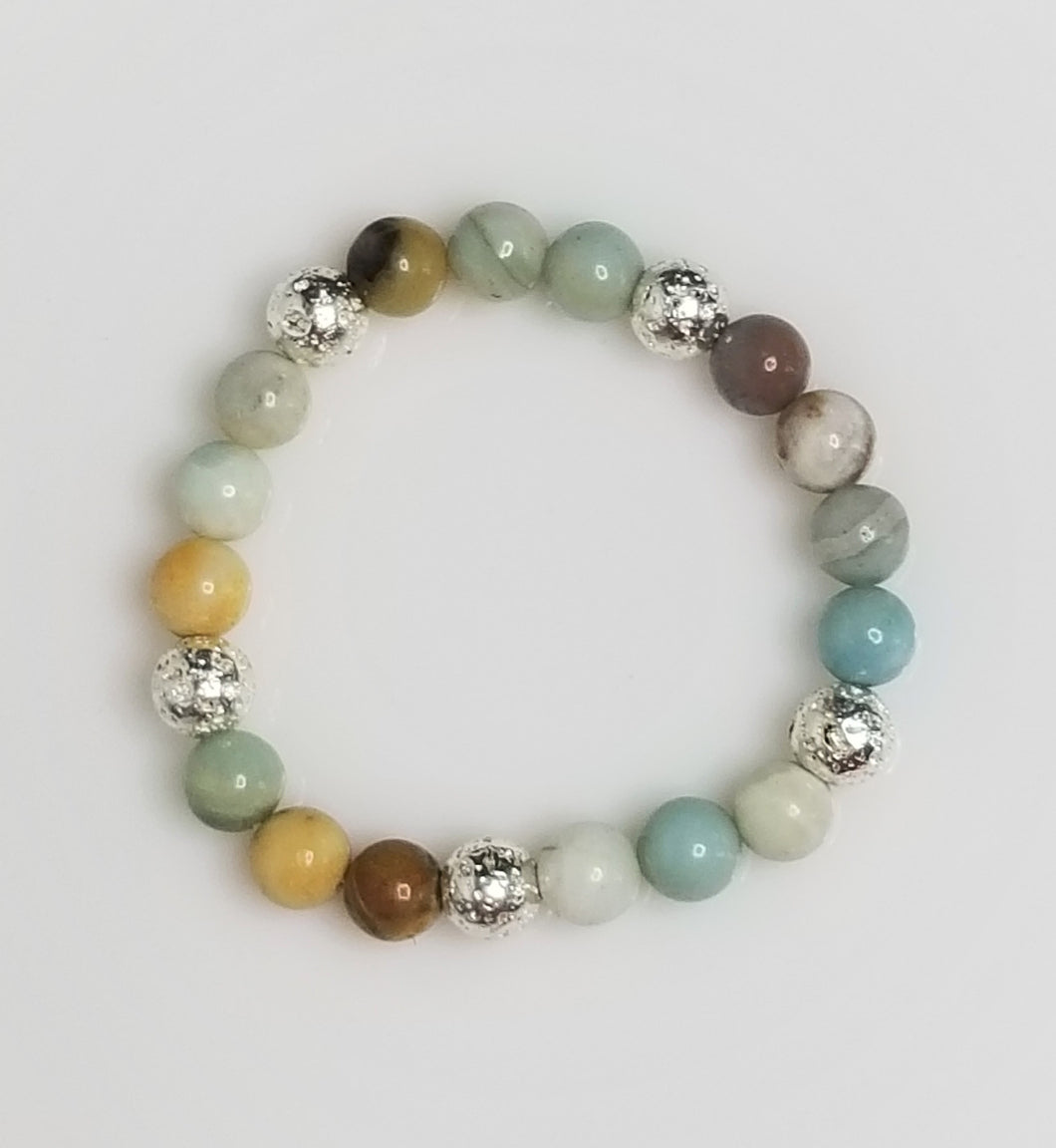 Amazonite stone beads with silver metal plated lava beads bracelet