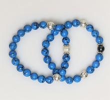 Bracelet in turquoise beads and silver metal plated lava with hematite beads