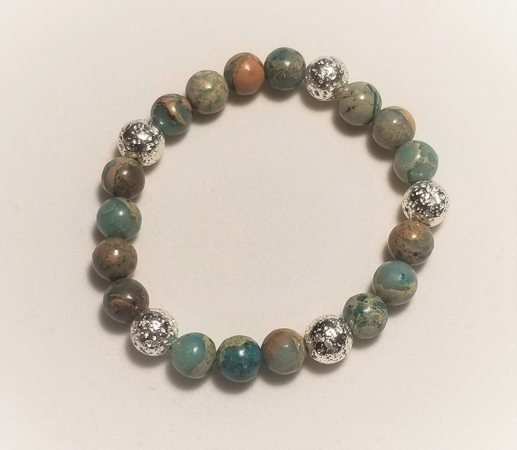 Natural stone bracelet with blue aqua terra jasper beads and silver metal plated lava beads