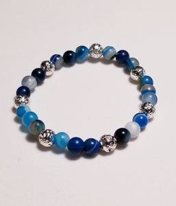 Bracelet in natural blue agate stones with silver metal lava beads