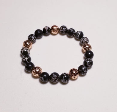 Imperial Jasper beads bracelet with rose gold metal lava beads
