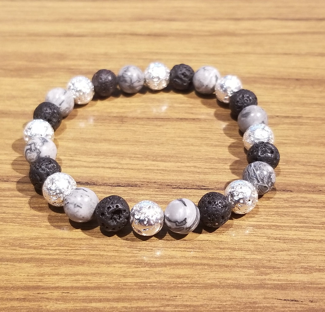 women bracelet in gray picture Jasper beads with bland and silver lava beads