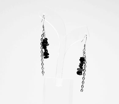 natural stone hanging from crochet hook earrings with stainless steel chain