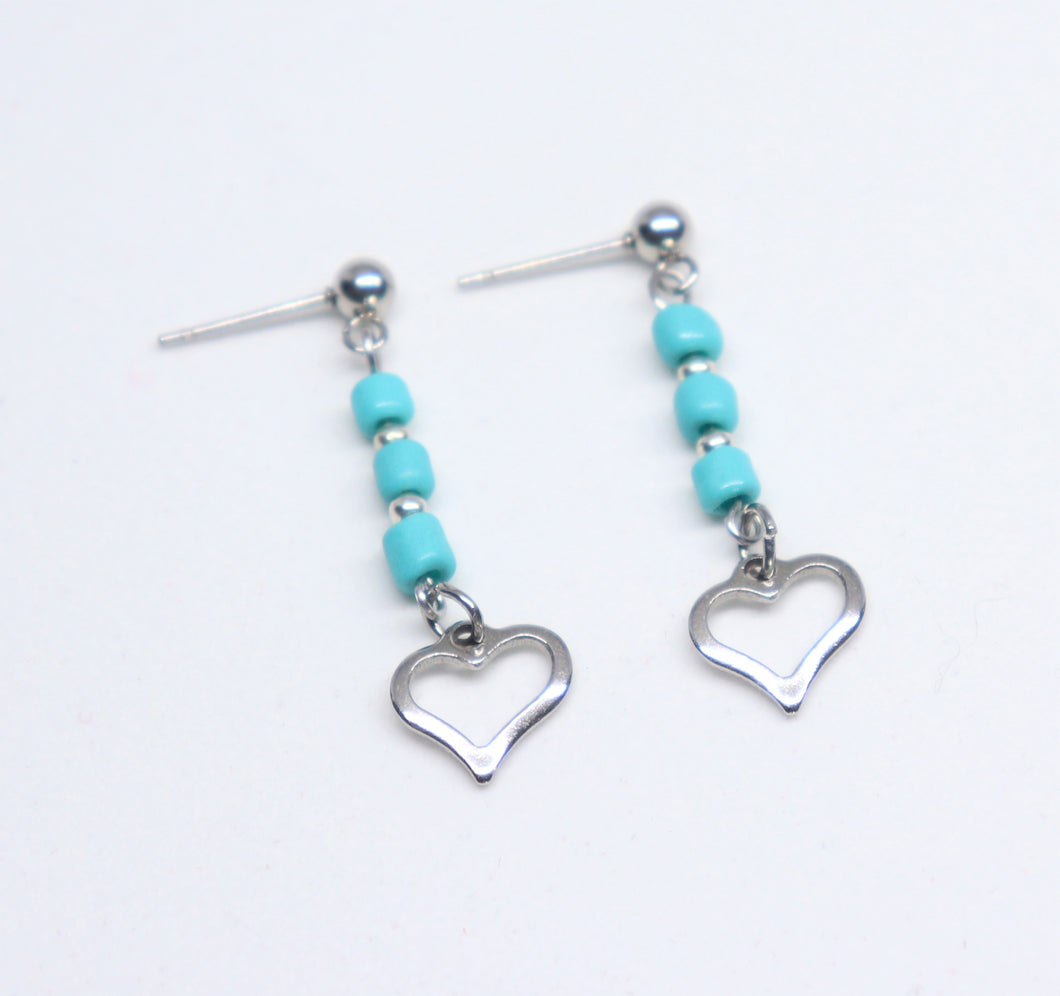 Stainless steel heart pending earrings with blue rockery glass bead