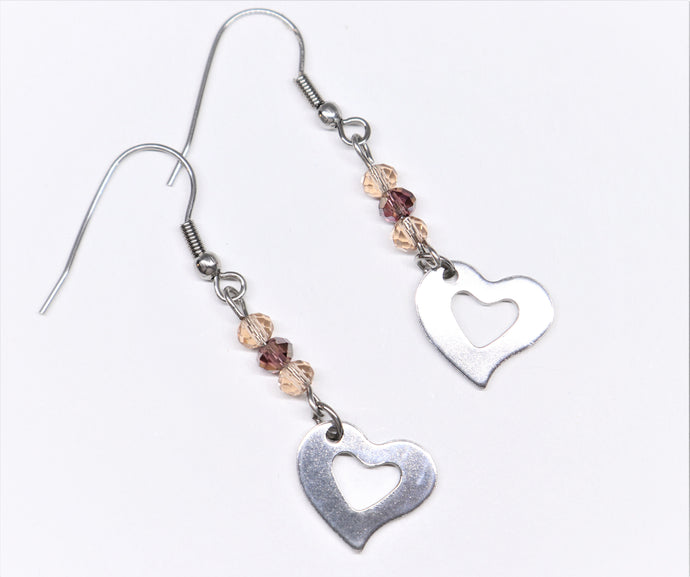 Long stainless steel big heart pending earrings with round cut champagne cristal