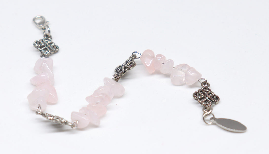 Nice stainless steel finished bracelet with pink quartz