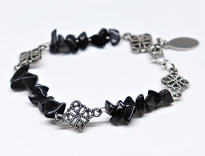 Nice stainless steel finished bracelet with black agate