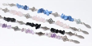 Nice stainless steel finished bracelet with pink quartz, amethyst, lapis lazulu, black agate