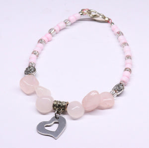 pink quart with rockery glass bead and heart pending charm bracelet