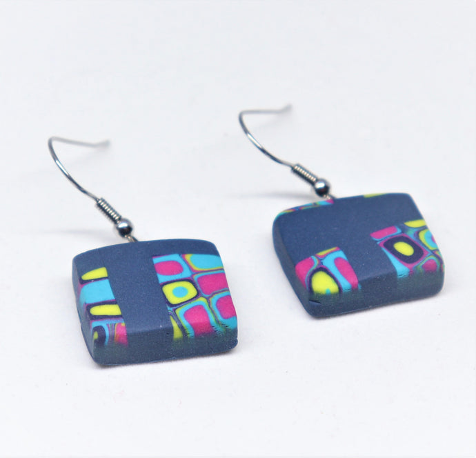 stainless steel hook earrings with unique polymer clay design