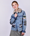 Custom vintage denim jacket - Lee, Levi, Wrangler, Diesel or similar. With car images applique'd and faux fur collar.
