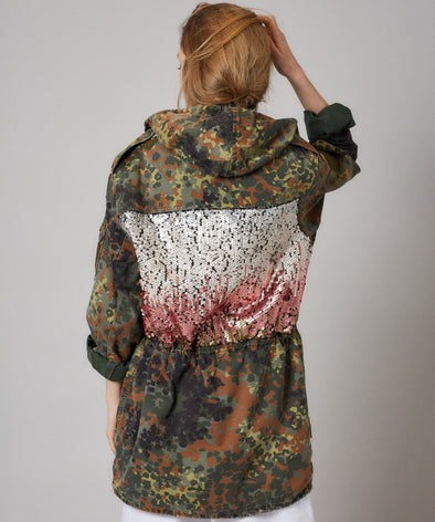 Customised vintage camo parka jacket with sequin design on back