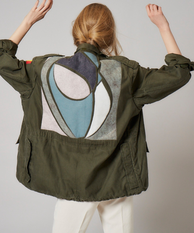 Customised vintage military khaki parka jacket with appliqued ovals and arcs in wool across back.