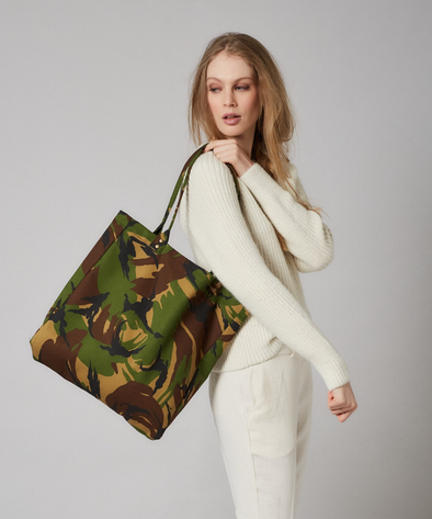 Camo canvas bag with antique brass rivet detail and internal pocket