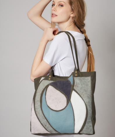 Khaki canvas bag with unique wool customisation, lined with cotton and with small internal pocket