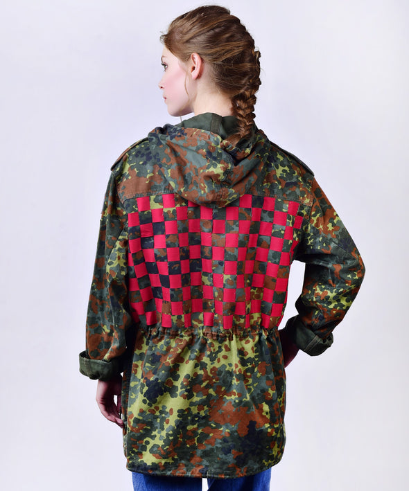 Customised vintage camo parka jacket with red weave across the back.