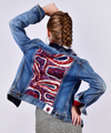 Customised Vintage Denim Jacket with red, white and blue sequin back panel - jacket is Lee, Levi, Wrangler, Diesel or similar.