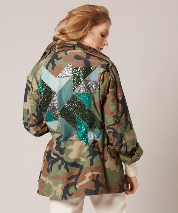 Customised vintage camo parka jacket with wool and sequin design on back