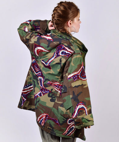 Customised vintage camo military jacket with coloured sequins - back view