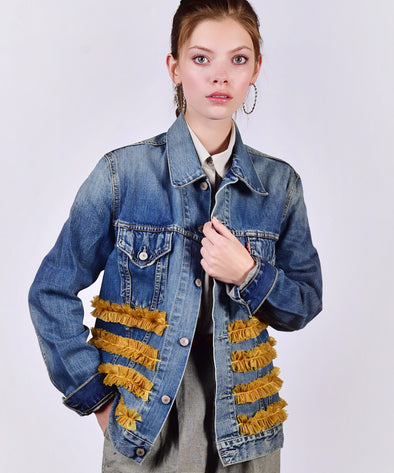 Customised Vintage Denim Jacket with golden ruffles across body - jacket is Lee, Levi, Wrangler, Diesel or similar.