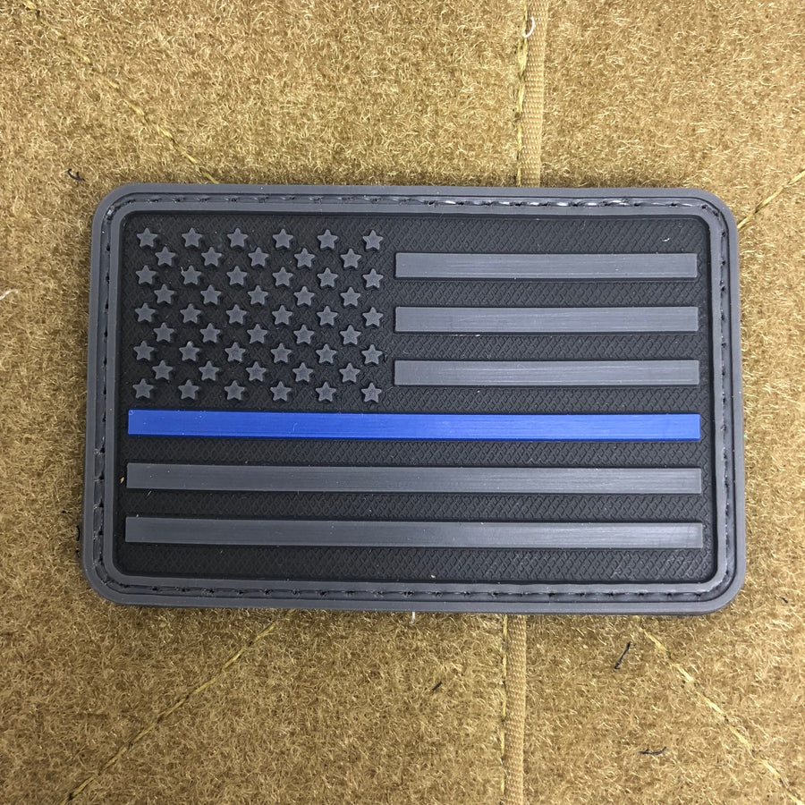 American Flag With Thin Blue Line PVC Morale Patch