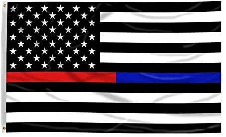 American Flag - Thin Red Line & Thin Blue Line 3'x5'