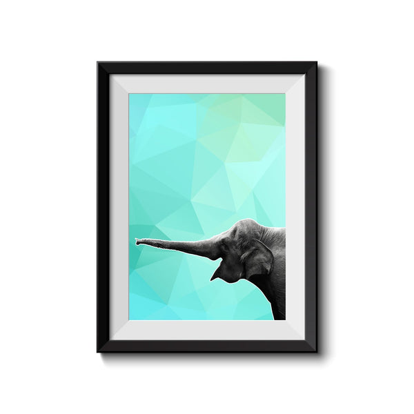 Elephant 002 Blue Abstract Art Print - Rock Salt Prints Inc