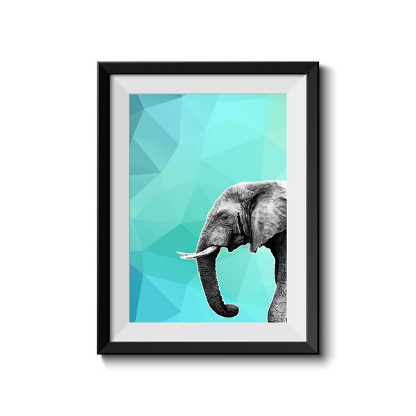 Elephant 001 Blue Abstract Art Print - Rock Salt Prints Inc