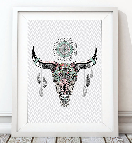 Animal Skull with Circle Ornament Art Print - Rock Salt Prints Inc